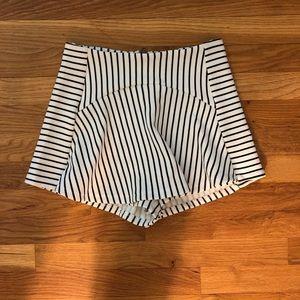 Black and white striped skort